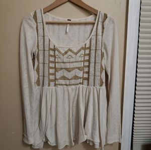 Free people light beige and gold long sleeve top